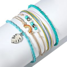 $10.05 | ZG Bohemian Handmade Weave Anklets Sky Blue Rope Chain Leaves Anklet Vintage Beads Stone Bracelets for Women Jewelry Outfit Accessories FromTouchy Style | Free International Shipping. Bracelets Design, Kids Bracelets, Colorful Bracelets, Ankle Bracelets, Jewelry Design, Wave Jewelry, Anklet Jewelry, Anklets, Little Girl Jewelry