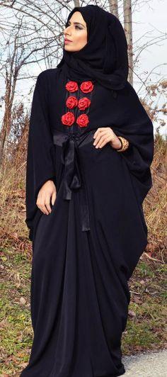 Black #Abaya| #Hijab | Loving the rose detail.