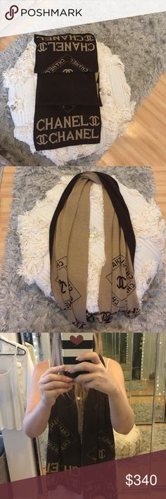 Chanel Scarf Brown &Beige  Chanel Scarf. Excellent condition no rips, holes or snags anywhere. Missing box or any other papers ,bags accessories with this item CHANEL Accessories Scarves & Wraps