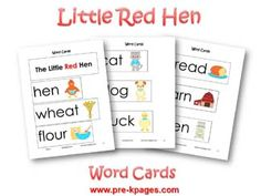 Little Red Hen Vocabulary Cards via www.pre-kpages.com