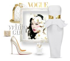 """White Out"" by neverboring ❤ liked on Polyvore featuring Chanel, Christian Louboutin, Nancy Newberg, Marc Jacobs, WALL, ruffles and polyvoreeditorial"