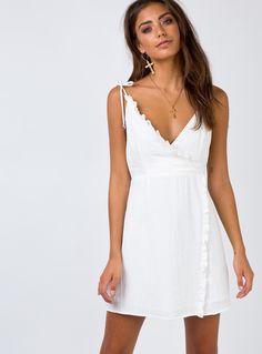 6fc628738b Lambada+Mini+Dress+-+ Mini+dress Adjustable+tie+at+shoulder+straps  V-neckline Ruffle+detailing+at+hem Invisible+zip+fastening+at+back lined