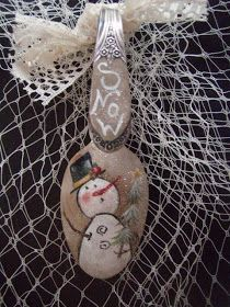 Laurie's Charming Designs: Painted Snowmen, Snowlady's Spoons!!!
