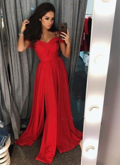 Custom Made Splendid Red Prom Dress Red Off Shoulder Long Prom Dress, Red Evening Dress Red Formal Dresses, Split Prom Dresses, Red Bridesmaid Dresses, A Line Prom Dresses, Prom Dresses Online, Sexy Dresses, Evening Dresses, Party Dresses, Simple Evening Gown