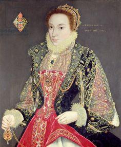 Mary Denton, nee Martyn, aged 15 in 1573 (oil on panel)