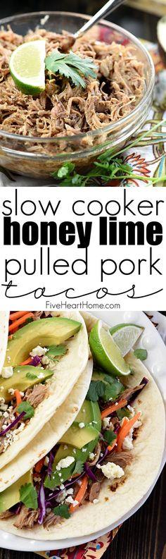 Slow Cooker Honey Lime Pulled Pork Tacos ~ tender, spicy-sweet pork ...