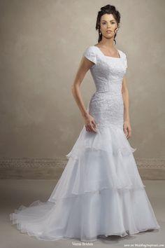 Modest Wedding Dresses | Short Sleeves Modest Wedding Gown in ...