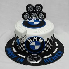 BMW cake Car lovers cake Mag wheels Perfect for men s birthday Birthday Cakes For Men, Car Cakes For Men, Race Car Cakes, Birthday Breakfast For Husband, Birthday Cake For Husband, Bmw Cake, Decors Pate A Sucre, Novelty Cakes, Cake Designs
