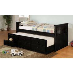Twin size Mission Style Daybed with Trundle & Storage Drawers - Quality House