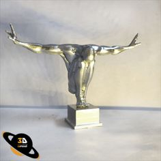 3DPlanet 3D Printed Sculpture by 3DPlanet on Creality Ender-3 Pro,White Filament,Chrome Painted.