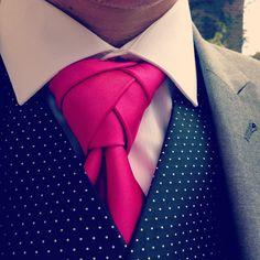 #tie #eldridgeknot #wedding  So we tried the tie, and it worked! Eldridge knot looks fantastic. Word of advice. Thicker satin plain tie works better as you can see the pattern more!