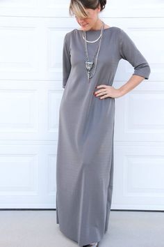 How to sew a maxi dress using a basic T-shirt as your sewing pattern, for the perfect comfy dress year round.