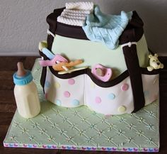 Diaper Bag Cake, Cakes For Boys, Shower Cakes, Baby Fever, Lunch Box, Polka Dots, Baby Shower, Cot, Christening