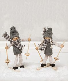 Look what I found on #zulily! Boy & Girl Scandia Skiers Ornament Set by ZiaBella #zulilyfinds