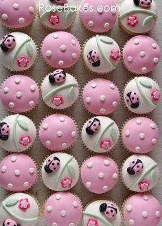 CUPCAKES~ PINK LADYBUG CUPCAKES