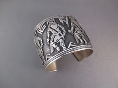 BR5773 Sterling Silver Cuff Bracelet by Native American Hopi Indian jewelry artist, Roy Talaheftewa  $850-
