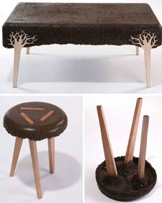 This is really innovative. These stools are made of wood sawdust upcycled into funky #furniture!