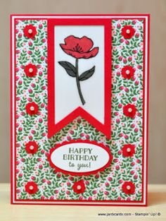handmade birthday card fro JanB Handmade Cards Atelier ... red poppy on vellum ... framed fishtail banner ... Stampin' Up!