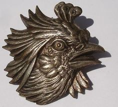 "RARE Antique ""Rooster"" x Large Realistic Pewter Metal Vintage Button 
