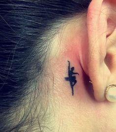 Ballerina tattoo behind ear