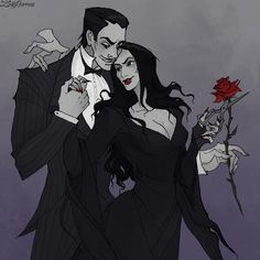 Be my Goth Valentine by IrenHorrors Happy belated Valentine's Day from Morticia and Gomez. Gomez And Morticia, Morticia Addams, Dark Fantasy, Fantasy Art, Kubo And The Two Strings, Dark Love, Fanart, Wonderful Picture, Couple Aesthetic