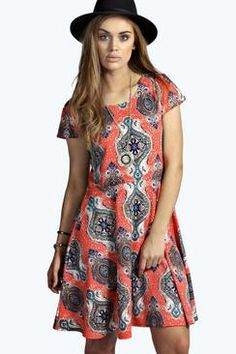 Plus Isabelle Printed Skater Dress