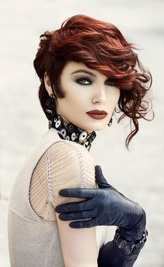 Red haired beauty, gloves