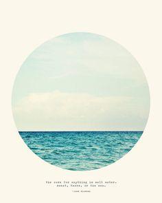 Sal agua cura grabado  Original océano mar círculo por TinaCrespo