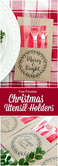Super cute and FREE printable Christmas Utensil Holders! These are awesome for Christmas parties and other holiday gatherings!.