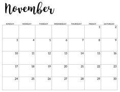 November Calendar 2019, November Printable Calendar, Excel Calendar, 2020 Calendar Template, Cute Calendar, Kids Calendar, Holiday Calendar, Print Calendar, Free Printable Calendar