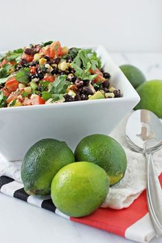 Recipe for southwestern black bean salad. Filled with beans, corn, tomatoes, green onions and cilantro. Topped with a honey lime chipotle dressing.