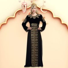 Get glammed up this festive season in our modest black Abaya Kaftan. It features golden luxe beads embellished by hand, a round neckline and a flattering fit. Product no: 5789