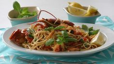 This easy spaghetti dish is a great way to serve frozen cooked lobsters that are a little smaller, if each person gets a half.