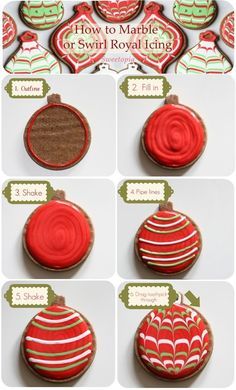 How to marble or swirl royal icing [Video & step by step tutorial] Christmas cookies Christmas Sugar Cookies, Christmas Sweets, Christmas Cooking, Holiday Cookies, Holiday Baking, Christmas Desserts, Holiday Treats, Thanksgiving Desserts, Christmas Recipes