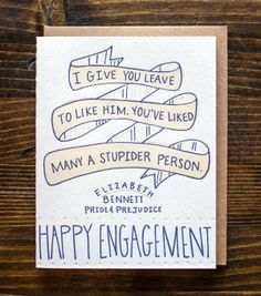 Pride and prejudice engagement card. :)