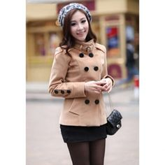 Fashionable Double Breasted Stand Collar Long Sleeve Worsted Women's Short Pea Coat, CAMEL, S in Jackets & Coats | DressLily.com