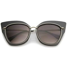 Women's Oversize Metal Trim Slim Arms Super Flat Lens Cat Eye Sunglasses 57mm