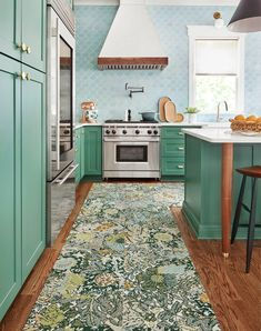 A graphic floral pattern inspired by the Arts and Crafts movement, these romantic and natural forms evoke colors found in meadows. The raised loops frame out the organic forms to give it added depth and dimension. | Among the Wildflowers - Ivy Kitchen Inspirations, Kitchen Colors, Retro Kitchen, Green Kitchen Cabinets, Home, Kitchen Design, Kitchen Trends, Kitchen Remodel, Cottage Kitchens