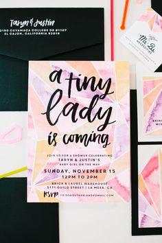 geometric baby girl baby shower invitation