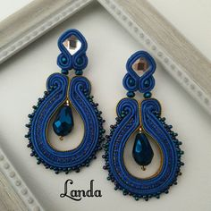Soutache Earrings, Blue Earrings, Ear Rings, Necklaces, Bracelets, Stud Earrings, Soutache Jewelry, Fashion Jewelry, Ear Studs