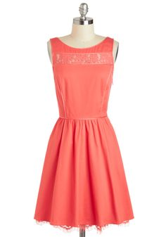 $127.99 Rachel's Smile Be There Dress - Mid-length, Coral, Solid, Lace, Party, A-line, Tank top (2 thick straps), Boat, Pockets, Cotton, Sheer