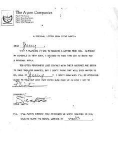 """Back in the 1980s, at which point he was starring in some of the funniest movies ever to be filmed, fans who wrote to Steve Martin could expect to receive a reply very similar to the fantastic letter seen below — a form response, wonderfully personalised for each recipient. This particular """"personal letter from Steve Martin"""" was sent to a teenage boy named Jerry."""