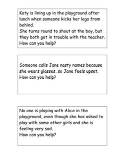 Bullying role-play cards