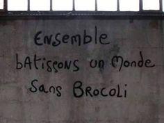 Ensemble batissons un monde sans brocoli. Graffitivre.