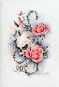 Tattoo! Roses, skill and barb wire, pretty classic!!