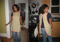 free smock apron pattern and tutorial  This is really cute. I'd love to make one (or have one made) for me.
