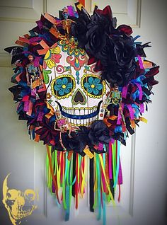 Day of the Dead Wreath Day Of The Dead Diy, Day Of The Dead Party, Halloween Skull, Halloween Crafts, Halloween Classroom Decorations, Fiesta Decorations, Dollar Store Halloween, Diy Wreath, Wreath Ideas