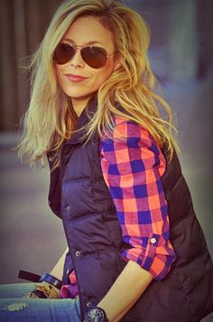 Plaid With Fluffy Vest and Ray Bans. Adorable. You can work in our garden next to me. :-) how fun!