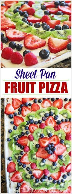 If I could do anything in my power to convince you to make this amazing Fruit Pizza, I would do it my friends. Not only is it stunning to look at…not only will it produce many servings to fee… (easy fruit desserts healthy) Fruit Recipes, Summer Recipes, Cookie Recipes, Dessert Recipes, Pizza Fruit, Dessert Pizza, Sugar Cookie Fruit Pizza, Cookie Pizza, Fruit Fruit