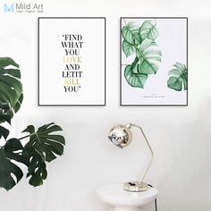 Watercolor Green Monstera Leaves Inspire Quotes Posters Prints Nordic Living Room Wall Art Pictures Home Decor Canvas Paintings Love Quote Canvas, Canvas Wall Art Quotes, Wall Decor Quotes, Wall Art Prints, Poster Prints, Modern Wall Decor, Home Decor Wall Art, Mermaid Canvas, Nordic Art